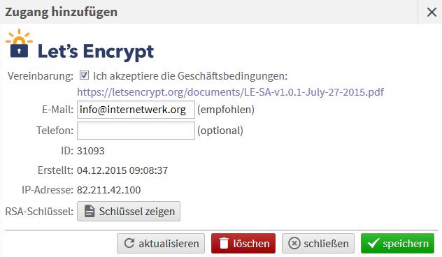 Kostenloses SSL-Zertifikate von Let\'s Encrypt aktivieren